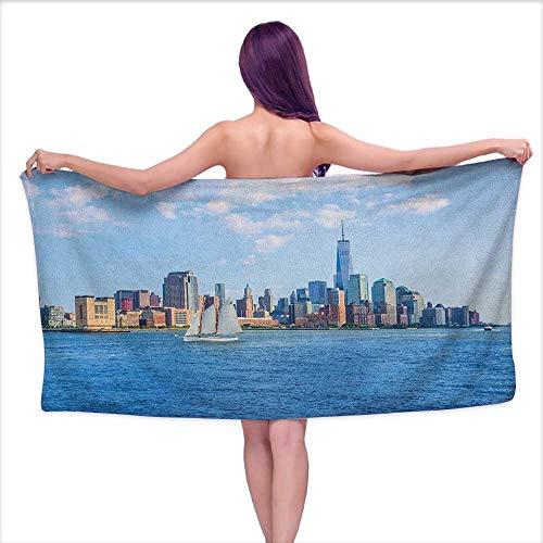 Andasrew Bath Towel Sets for Bathroom Sailboat,Manhattan Skyline New York Sunshine USA Clear Sky Tower Skyscraper Photography, Blue Grey,W20 xL39 for Men red