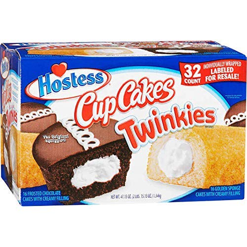 Hostess Twinkies & Cupcakes (16 Twinkies & 16 Cupcakes), Individually Wrapped, 32 Total - SET OF 3