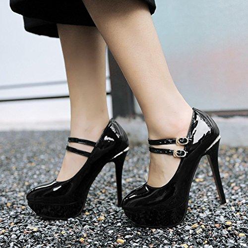 Easemax Womens Elegant Patent Buckles Straps Platform High Stiletto Heel Pumps Shoes Black mbQ7kpySrd