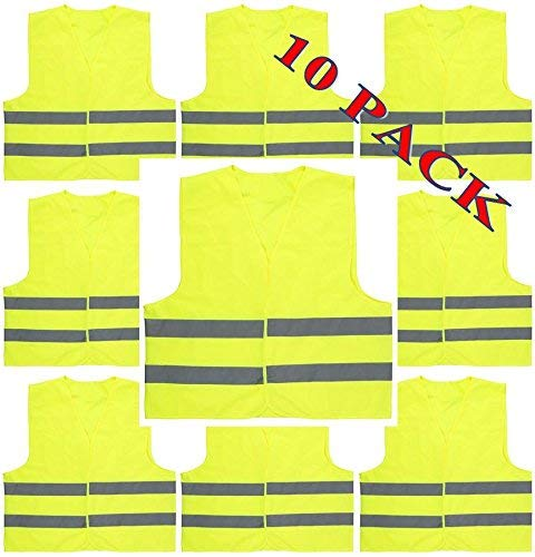 Yellow Safety Vest Reflective - BEBEWEST, Yellow Reflective Safety Vest,10 Pack(S/M/L/XL/XXL), Silver Strip, Bright Breathable Neon (Mesh),High Visibility Vest, Security Jacket Strips Work Wear Uniforms Clothing (Hi-Vis Lime yellow)