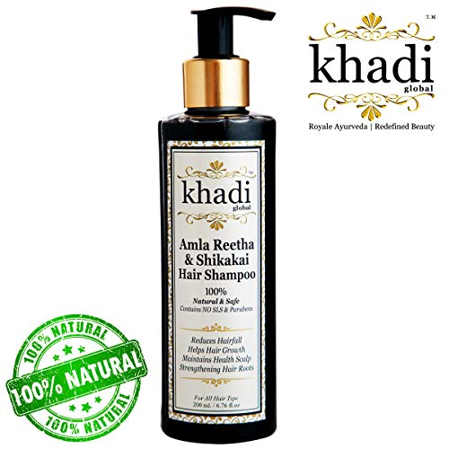 Khadi Global Amla Reetha Shikakai Shampoo 200ml / 6.76 fl.oz | Ayurvedic, Natural & Safe | Originated in INDIA | Strengthen Hair Roots, Maintains Healthy Scalp, Helps Hair Growth, Reduce Hairfall