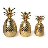 Two's Company 51442-EA Set of 3 Golden Pineapple Canisters with Lid