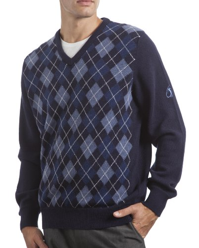 Glenmuir Scotland Men's Touch of Cashmere Argyle V Neck Classic Fit Sweater. Made in Scotland-Notte-Small Cashmere Argyle Sweater
