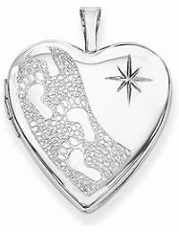 Solid 925 Sterling Silver 20mm D/C Footprints Love Heart Locket Opens Engravable Pendant (25mm Height x 20mm Width)