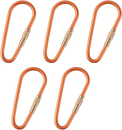 D-Shaped Camping Carabiner Aluminum Alloy Screw Lock Hook Clip Key Ring Outdoor Camping Climbing Tools Accessories