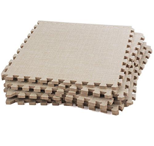 Dooboe Interlocking Foam Mats – Interlocking Foam Floor Mats - Interlocking Floor Tiles – Beige Linen– Non-Toxic, Anti-Fatigue, Premium Puzzle Floor Mat with Borders