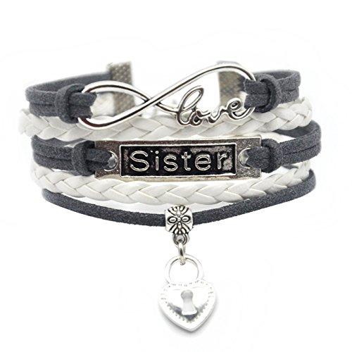 Multi Chain Heart Bracelet (Big Little Sister Bracelet - Cute Heart My Sister Charm Bracelet For Sister, Women (White and Grey Multi))