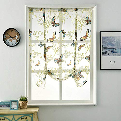 (Tie-Up Roman Shades Rod Pocket Organza Balloon Curtain Butterfly Floral Semi Sheer Window Balloon Curtain for Living Room Kitchen Windows (47