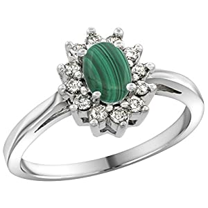 Sterling Silver Natural Malachite Diamond Flower Halo Ring Oval 6X4mm, 3/8 inch wide, size 6