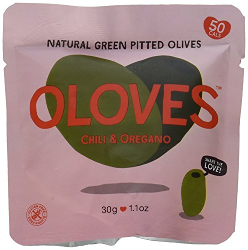 Oloves Chili & Oregano | Fresh Green Pitted Olives | All Natural | Healthy Snack | Vegan | Gluten Free | Kosher | Low Cal |30 Pack (1.1oz Bags)