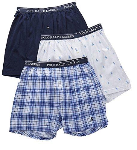 Polo Ralph Lauren Classic Fit 100% Cotton Knit Boxers - 3 Pack (LCKBS3) L/White - Tartan Polo