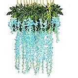 12PCS/3.6 Feet/Piece Artificial Flowers Fake Wisteria Vine Ratta Hanging Garland Silk Flowers for Home Garden Wedding Decor Wall Decoration(Blue)