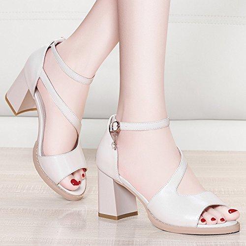 Jqdyl Tacones Grueso con sandalias Nuevo verano Sencillo estudiantes de tacón alto Salvaje con zapatos de mujer Palabra sandalias de hebilla A beige