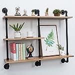 Industrial Pipe Shelf with Wood 43.3in,Rustic Wall Mount Shelf 3-Tiers,Metal Hung Bracket Bookshelf,Diy Storage Shelving Floating Shelves 8
