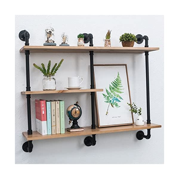 Industrial Pipe Shelf with Wood 43.3in,Rustic Wall Mount Shelf 3-Tiers,Metal Hung Bracket Bookshelf,Diy Storage Shelving Floating Shelves 5