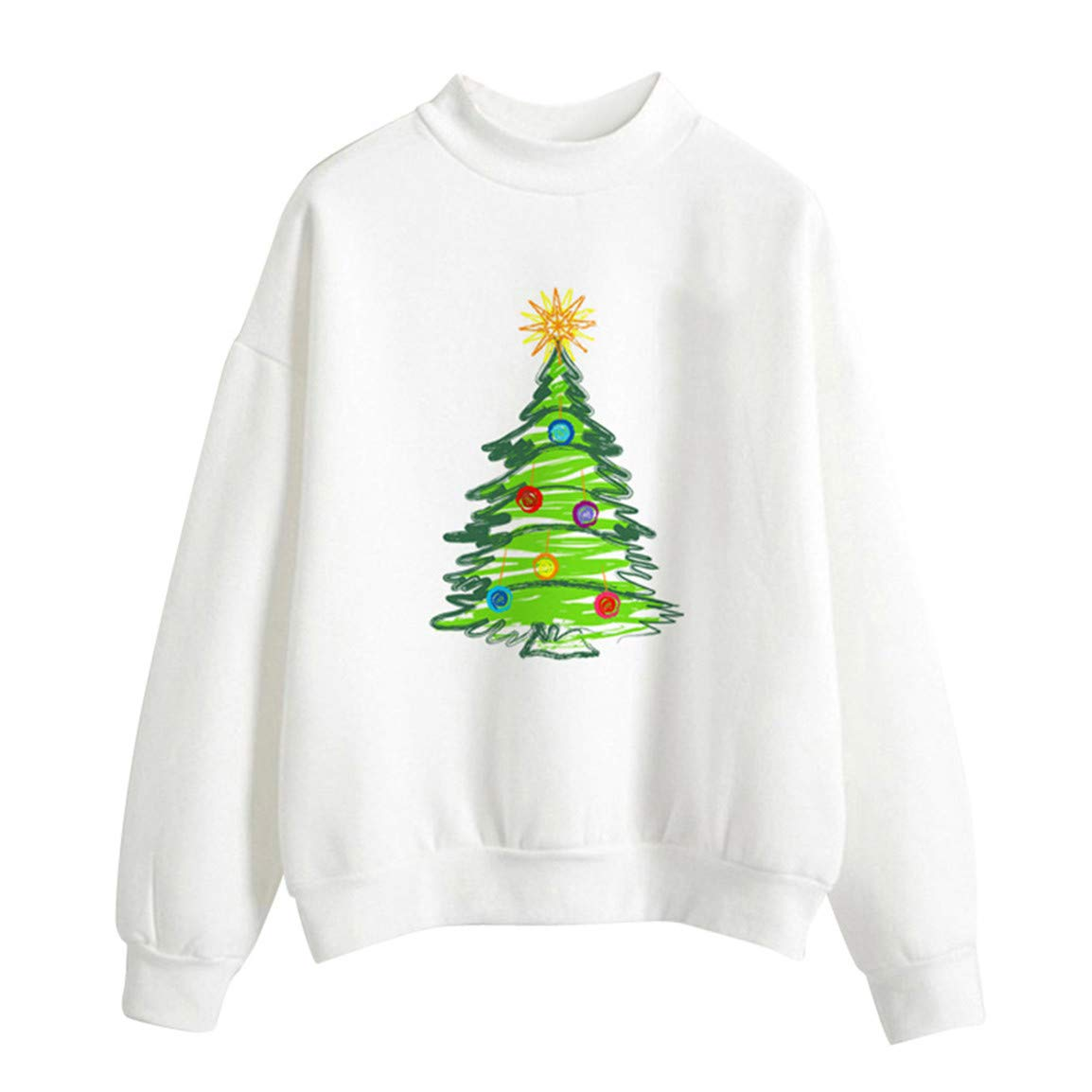 Moonuy Frauen Volle Hülse Pullover Damen Weihnachtsbaum ...