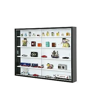 Inter Link Vitrine Murale pour Objets de Collection & Miniatures Panneaux de particules Noir et Blanc (80 x 60 x 9.5 cm)