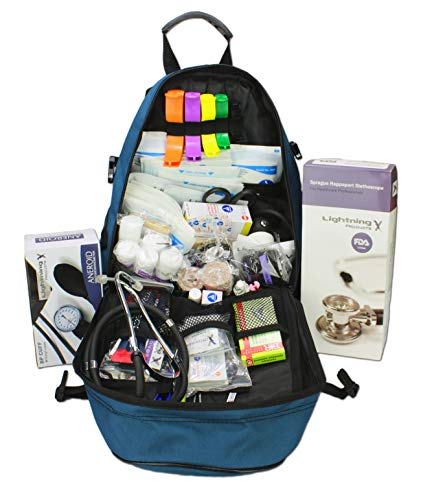- Lightning X First Responder EMT/EMS Backpack Stocked First Aid Supplies Kit B (Navy Blue)
