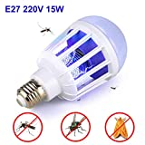 Outgeek Bug Zapper Light Bulb E27 Socket 15W UV Light Mosquito Killer Lamp for Home