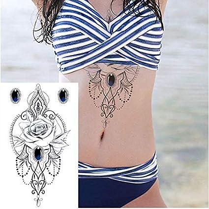 ruofengpuzi Adesivo tatuaggio1 Pieza de Metal Dorado y Plateado ...