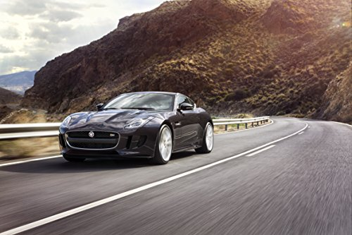 - Jaguar F-Type S Coupé AWD (2016) Car Print on 10 Mil Archival Satin Paper Black Front Side Motion View 36
