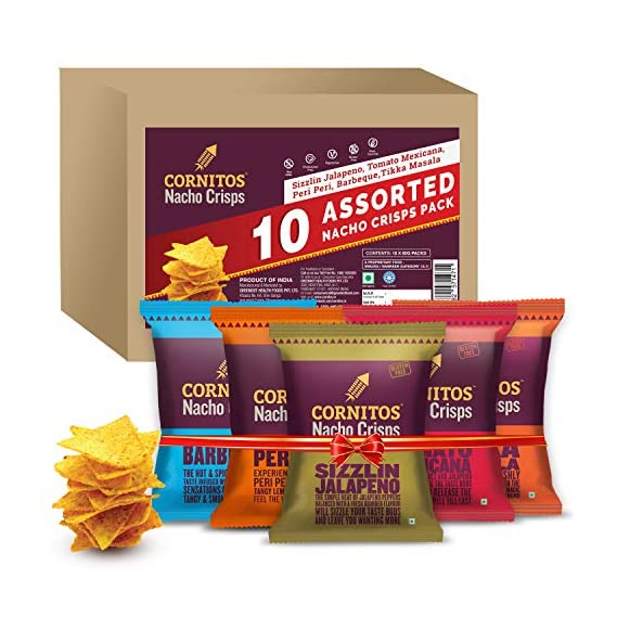 Cornitos Assorted Nacho Crisps 60g, Pack of 10, x 60 g