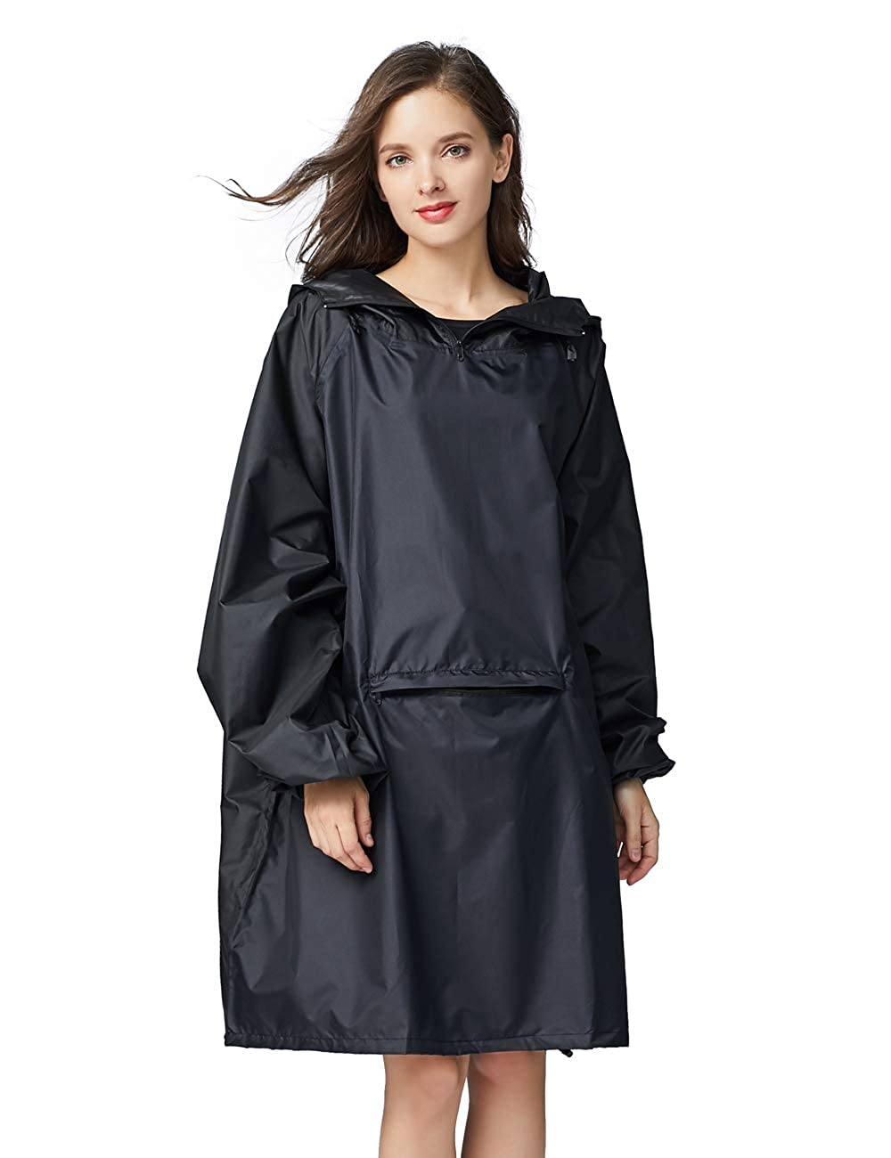Diliba Women's Waterproof Raincoat Lightweight Packable Rain Coat Poncho Hooded DYYI-Y1832