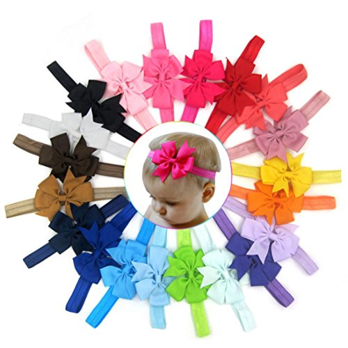 Clearance! 20PC Baby Girl Bowknot Headband Lovely Flower Hair Band Newborn Hair Accessories (Colorful)