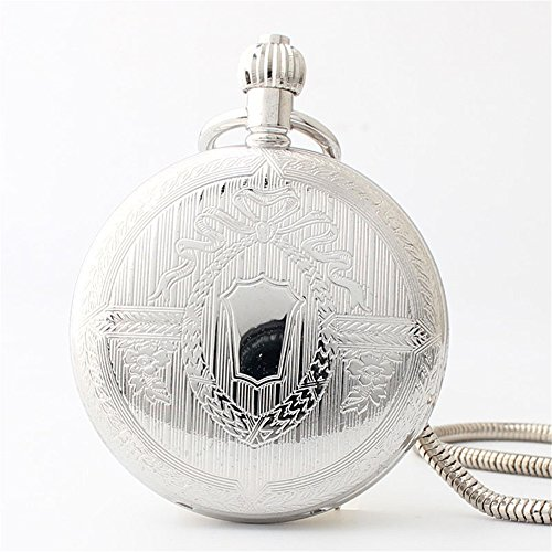 Zxcvlina Classic Smooth Retro Roman Numberals Mechanical Pocket Watch Silvery Boutique Unisex Creative Gift Copper Pocket Watch with Chain Suitable for Gift Giving by Zxcvlina