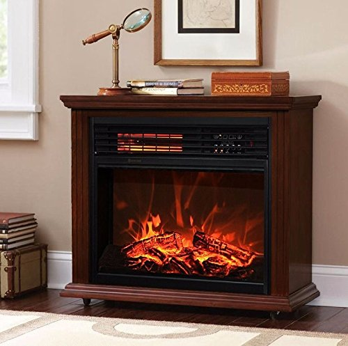 Clever Market Wood Classic Electric Quartz Infrared Elegant Fireplace Durable Living Room Heater Deluxe Mantel Walnut Clever Market