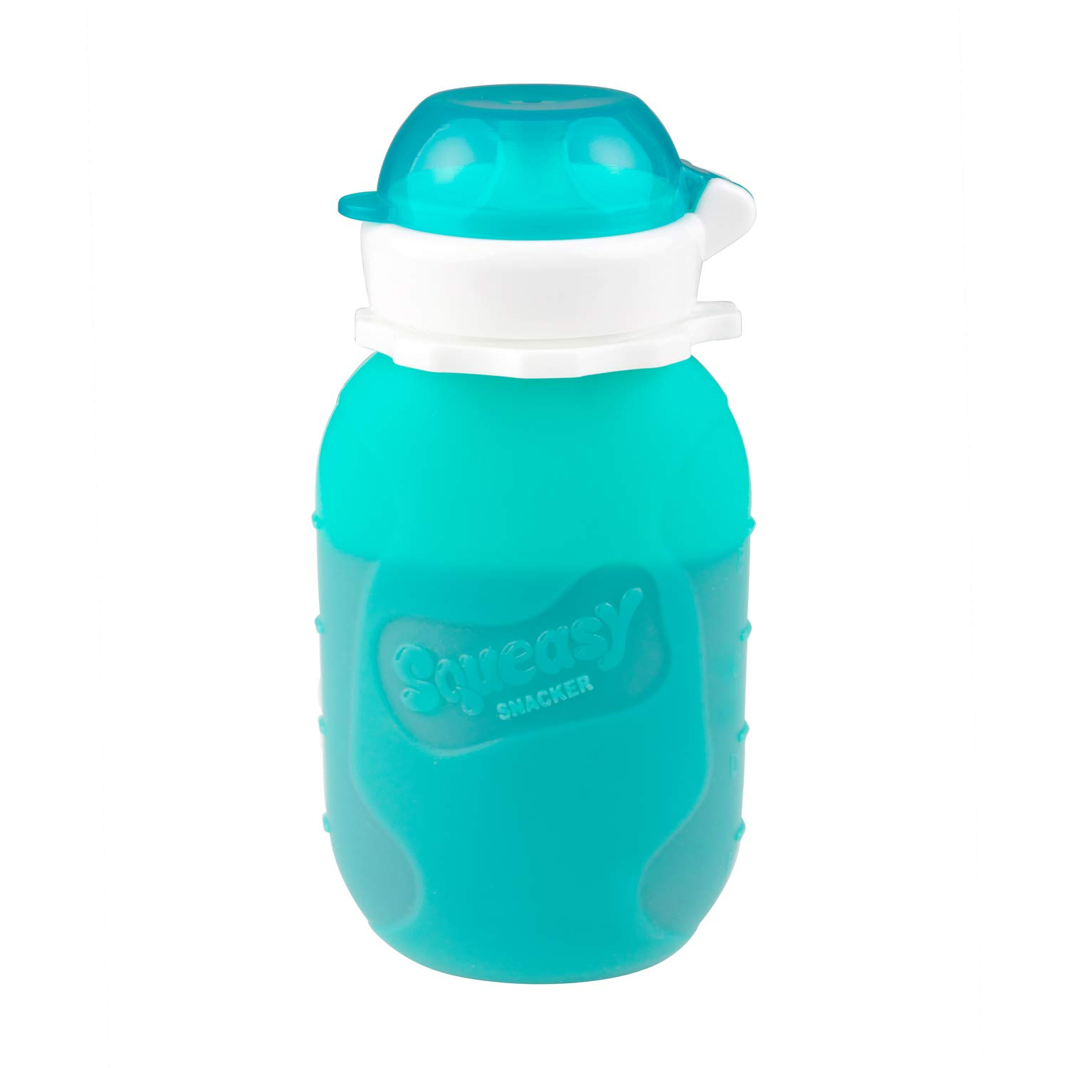 Aqua 6 oz Squeasy Snacker Spill Proof Silicone Reusable Food Pouch - for Both Soft Foods and Liquids - Water, Apple Sauce, Yogurt, Smoothies, Baby Food - Dishwasher Safe by Squeasy Snacker