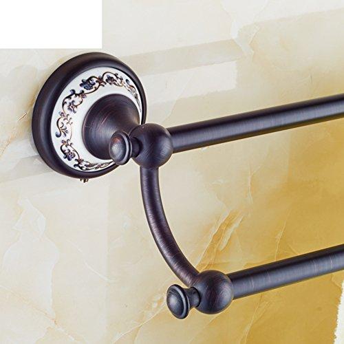 best Solid brass Towel rack/Black bronze towel hanging/toilet/Bathroom accessories/American bathroom rack/Double Towel Bar