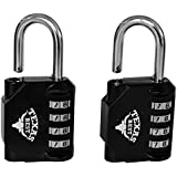 Texas Best 4 Digit Combination Padlock (over 10,000 Different Combinations) for Gym & Sports Lockers, School, Fence, Toolbox, Case, Hasp Storage   Pack of 2 Units (Black Color)