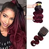 Omber Human Hair Brazilian Virgin Hair Burgundy Body Wave Red Color 8A Ombre Extensions Two Tone 1B/99J 3 Bundles with 4x4 Lace Closure with Baby Hair (16'' 18'' 20'' & Closure 14'')