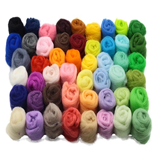 (50 Colors Wool Roving Needle Felting Wool Yarn Fibre Hand Spinning DIY Craft Materials,Perfect for Christmas Ornaments Small Projects Presents Toys Making)