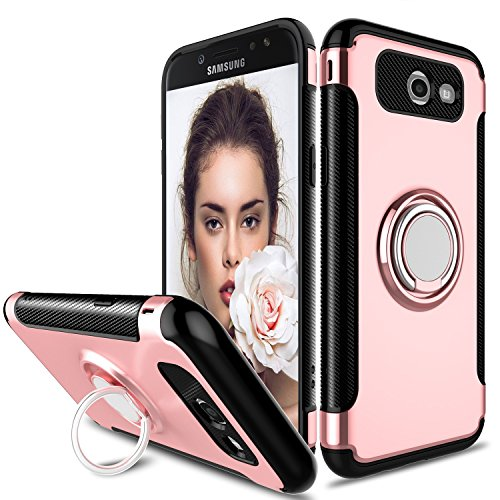 Galaxy J7 2017 Case, J7 Perx Case, Zenic Slim Dual Layer Hybrid Defender Armor 360 Degree Rotating Ring Kickstand Protective Case with Magnetic Case Cover for J7 2017/J7 Sky Pro/Halo (Rose Gold)