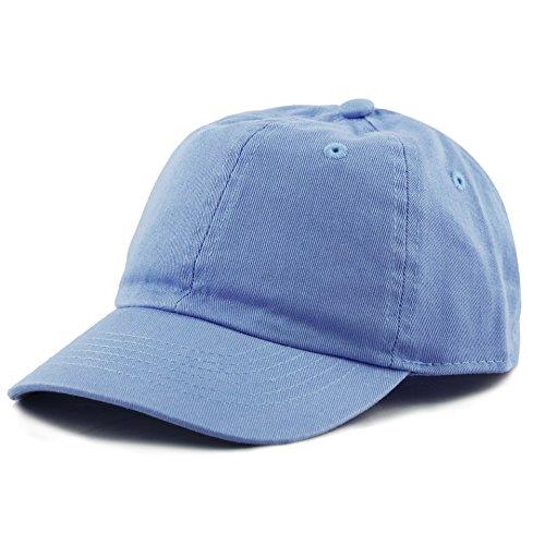 Adjustable Toddler Cap - The Hat Depot Kids Washed Low Profile Cotton and Denim Plain Baseball Cap Hat (SkyBlue)