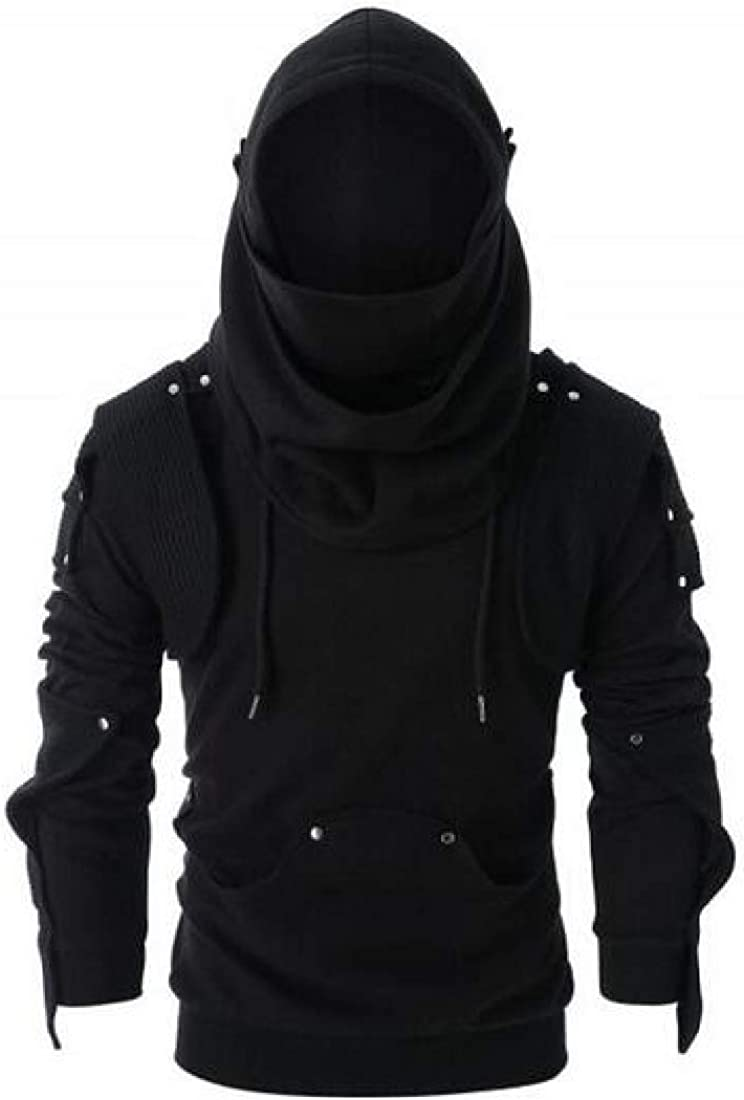 Fubotevic Men Plus Size Loose Fit Hoodies with Mask Long Sleeve Rivet Pullover Sweatshirt