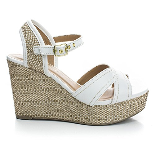 Sling White Wedge Pump Back Elastic D'orsay Strap Pu Classified amp; Platform w Espadrille City K wfq0gx1n