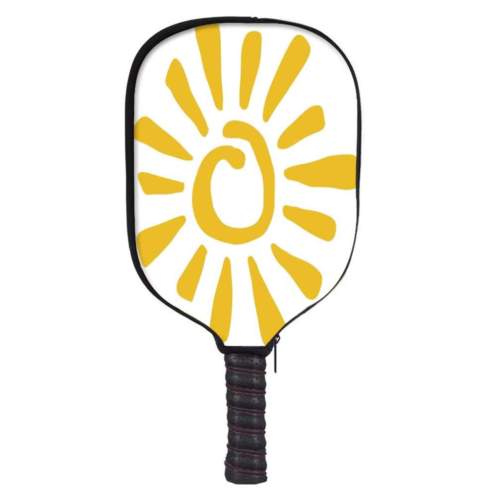 MOOCOM Sun Fashion Racket Cover,Childish Doodle Style Sun Figure Circle and Rays Burst Beams Nature Hot Summertime Decorative for Playground,8.3'' W x 11.6'' H