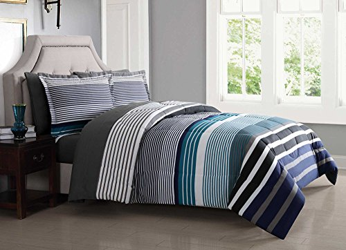Ensemble Bed Full (London Fog BIB1585BLF-3200 Complete Bed Ensemble, Full, Blue)