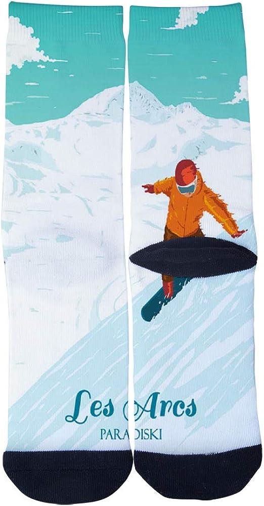 Les Arcs Vintage Ski Resort Paradiski French Alps Socks Mens Womens Casual Socks Custom Creative Crew Socks