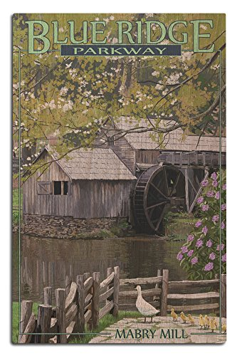 Blue Ridge Parkway - Mabry Mill in Spring (12x18 Wood Wall Sign, Wall Decor Ready to Hang) - Mabry Mill Blue Ridge Parkway