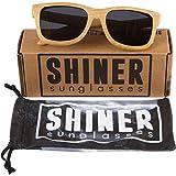 Shiner Bamboo Wood Sunglasses, UV400 Polarized Lenses, Wayfarer Style (Bamboo, Black)
