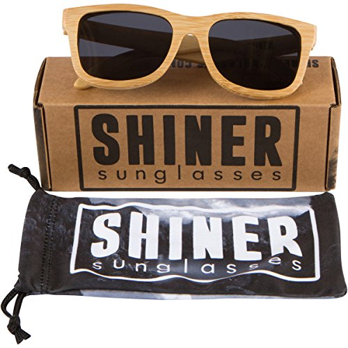 Shiner Bamboo Wood Polarized Sunglasses - UV400 Lenses, Wayfarer Style (Bamboo, Black) Bamboo Designer Shade