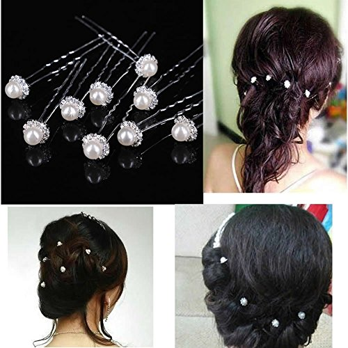 ReNext 50 Pcs Wedding Bridal Artificial Pearl Flower Crystal Hair Pins Clips Bridesmaid