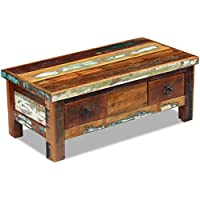 Daonanba Durable Vintage Style Coffee Table Drawers Couch Table Living Room Table Side Table Solid Reclaimed Wood