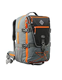 Cabin Max Equator Backpacking Flight Approved Backpack with Integrated Rain cover, Waist and Chest Straps (Grey/ Orange)