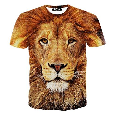 FaPlus Men's Fashion Lifelike 3D Print Lion Short Sleeve T-Shirts 2X
