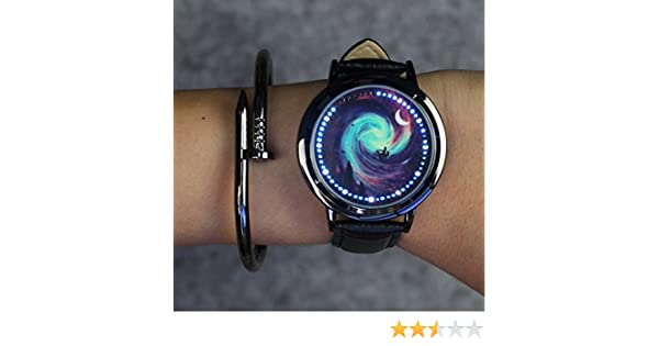 Amazon.com: Zehui Watches Creative Touch Screen Watch Men Women LED Waterproof Watches Casual Leather Sports Wrist Watches Christmas Gift Romantic Starry ...